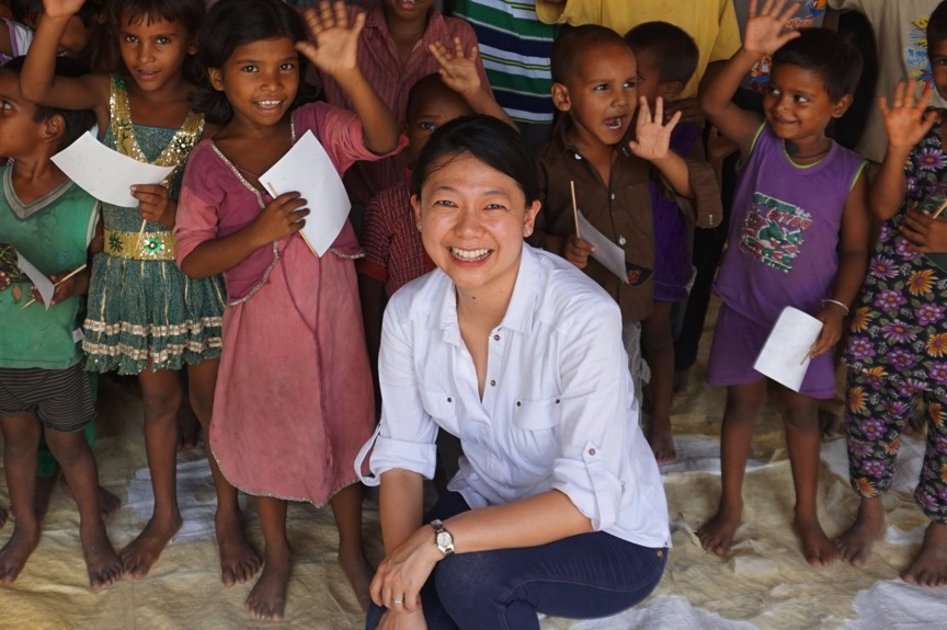 Cynthia Cheong with kids in Saidanpur India