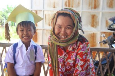 preschool with his mother